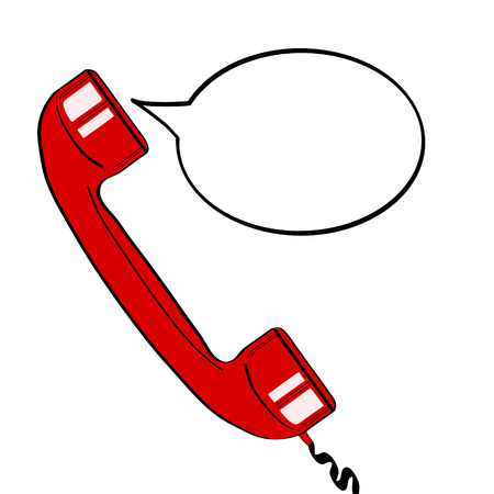 red old phone handset and empty speech bubble for your offer. Vector colorful hand drawn illustration in retro comic style.