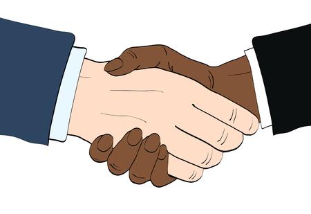Businessmen shake hands vector illustration in retro pop art style. Partnership handshake concept poster in comic design Stock Illustratie