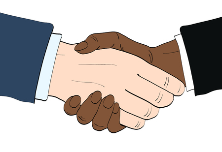 Businessmen shake hands vector illustration in retro pop art style. Partnership handshake concept poster in comic design Illustration