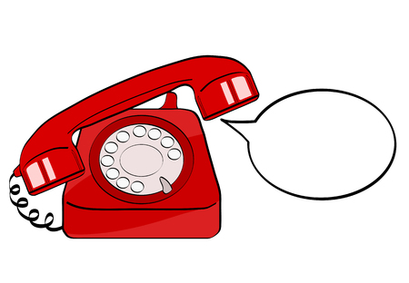 Red old phone and empty speech bubble for your offer. Vector colorful hand drawn illustration in retro comic style. Ilustração