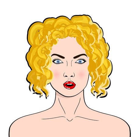 Wow pop art female face. Sexy surprised young woman with open mouth and blond hair in pop art retro comic style. Illustration