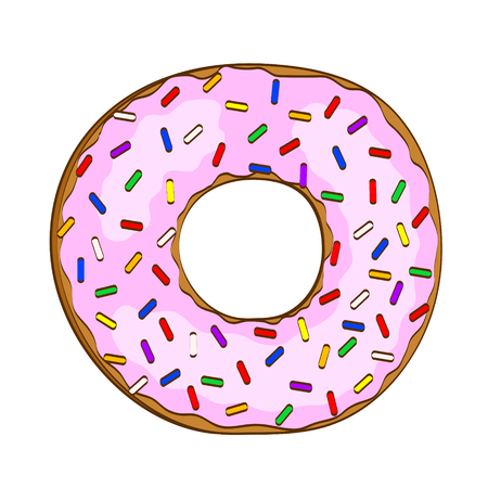 Sweet cartoon donut with pink glaze on white, stock vector illustration