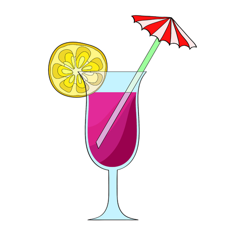 Summer coctail glass for beach party on white, stock vector illustration