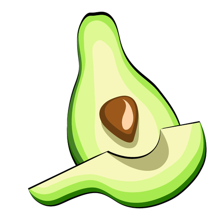 Avocado Vegetable in cartoon style for your design. Vector Illustration on white background eps 10 Иллюстрация