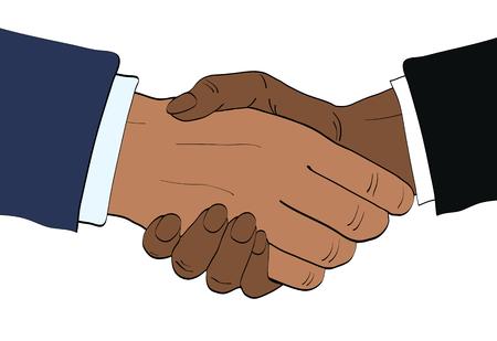 Afroamerican businessmen shake hands vector illustration in retro pop art style. Partnership handshake concept poster in comic design