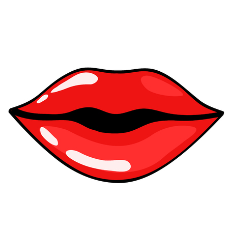 Red cartoon woman lips for your design, stock vector illustration