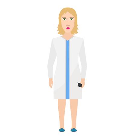 Hospital medical doctor (nurse) on white vector flat illustration Ilustração