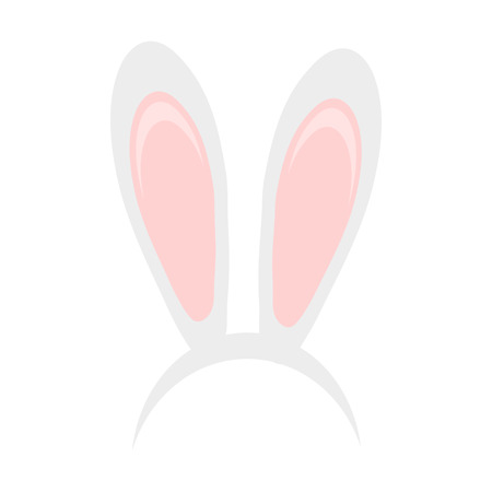 Easter bunny ears mask hand draw vector illustration. Rabbit ear spring hat set isolated on white background. Ilustração