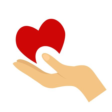 Heart in hand symbol, sign, icon, template for charity, health, voluntary, non profit organization. Illustration