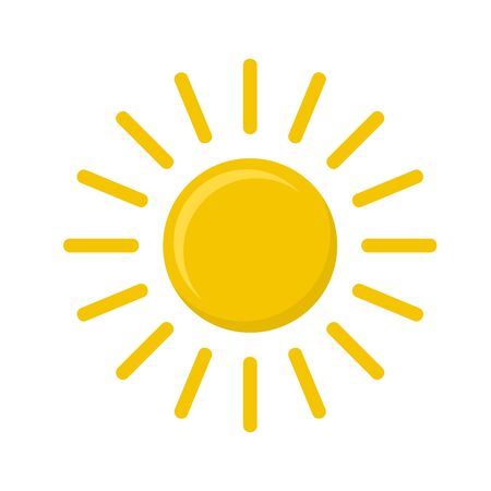 Vector icon of sun on white, stock vector illustration