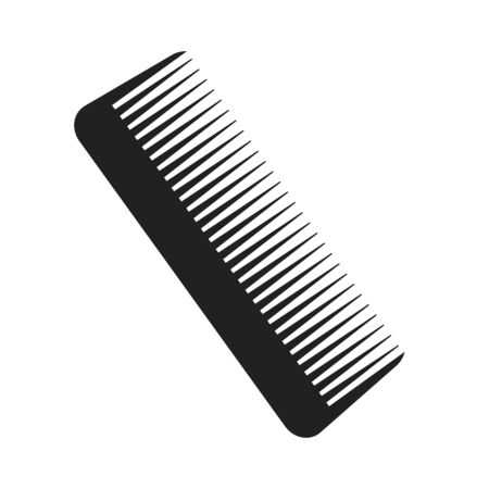 brush for hair black icon on white, stock vector illustration Çizim