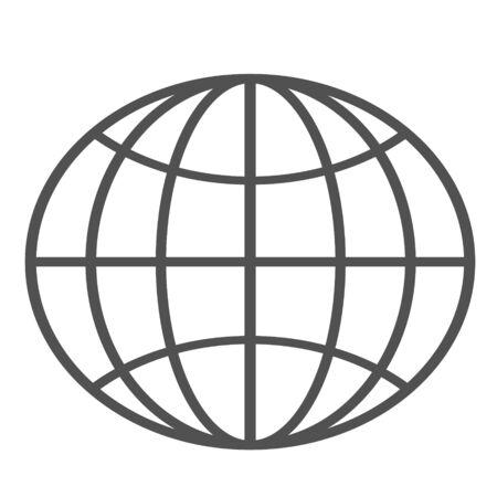 Globe Icon. World symbol. Oval globe. Icon world. Globe symbol. Earth sign. Color easy to edit. White background.  Ilustrace