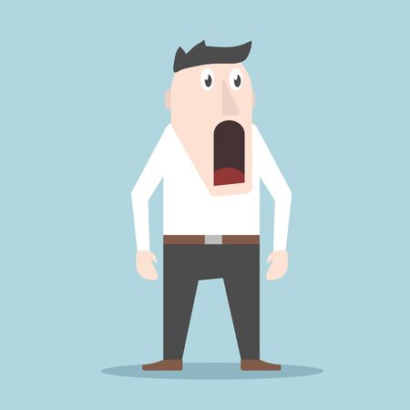 The emotion of surprise and delight in a man on the face, stock vector illustration Illusztráció