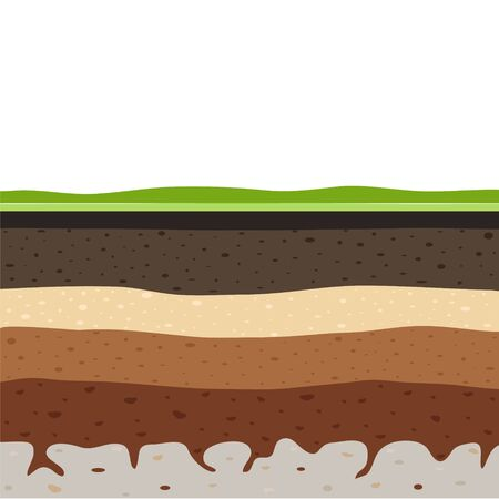 Layers of grass with Underground layers of earth, seamless ground, cut of soil profile with a grass, layers of the earth, clay and stones, ground water Ilustração