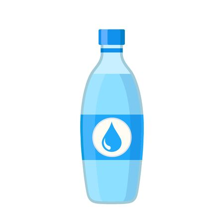 Bottle of clear water in cartoon flat style on white, stock vector illustration