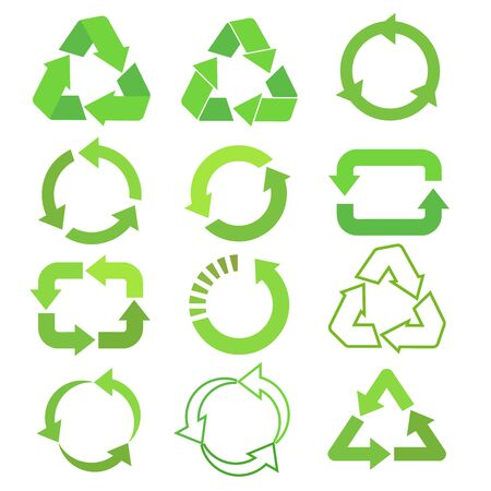 Recycled eco vector icon set, cycle and triangle arrows in a flat style. Recycled green arrows eco sign set. Vector illustration isolated on white background Vettoriali