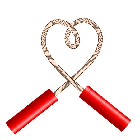 Dynamite sticks with rope like heart symbol on white, stock vector illustration
