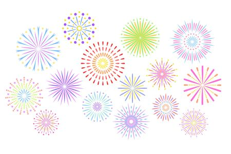 Festive fireworks. Celebration party firework, festival firecracker and, holiday feast celebrated colorful sky fire explosion stars, birthday or birthday celebrating isolated vector background