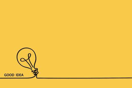 Single lamp idea ideas Bright Business Concept Vector bulb light education icon Big Bulbs Electric Enery fun Funny FAQ FAQs Brilliant Lightbulb signs doodle brain on yellow