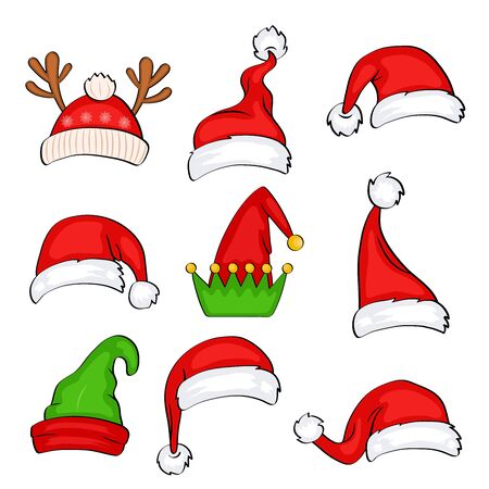 Christmas holiday hat. Funny elf, snow reindeer and Santa Claus hats wearing for noel sign. Elves fur cap clothes, decoration xmas costume cartoon isolated vector icon set Ilustración de vector