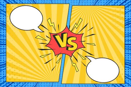 Versus comic frame. Vs comics book clash frames with cartoon text speech bubbles on halftone stripes background vector template. Comic magazine funny