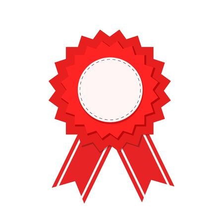 red seal guarantee with ribbon, vector illustration