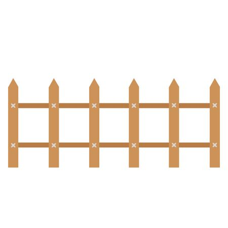Rural wooden fences, pickets vector. Brown silhouettes fence for garden illustration