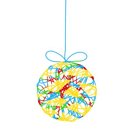 Colorful decor christmas tree ball with strips for your design, stock vector illustration