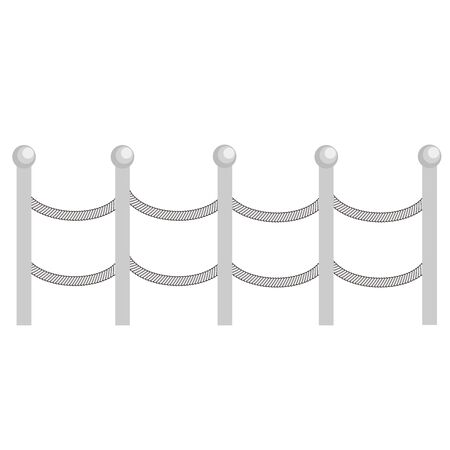 Rural rope metal fences, pickets vector. Brown silhouettes fence for garden illustration