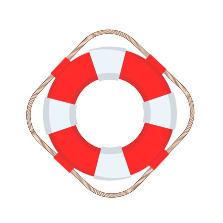 Shiny Striped Life Buoy Isolated Stock Vector Illustration