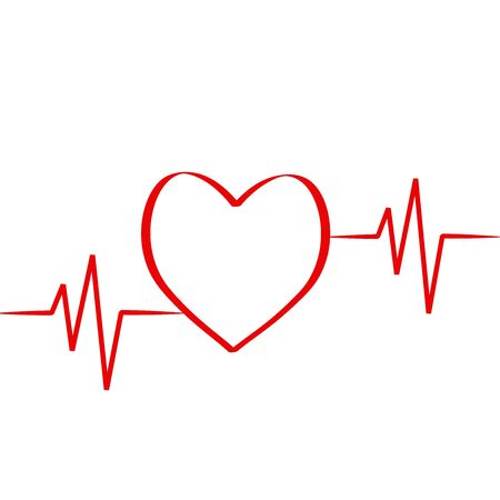 red heart in cardiology medical design over white background vector illustration