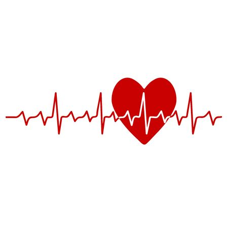 red heart in cardiology medical design over white background vector illustration