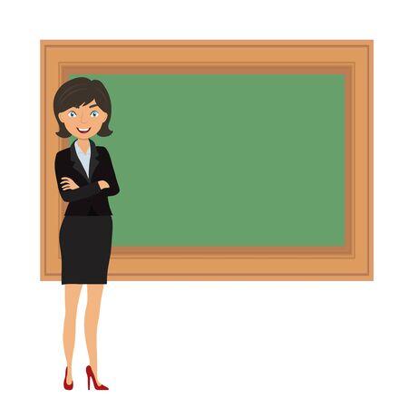 Smiling teacher over green blackboard on white, stock vector illustration Vecteurs