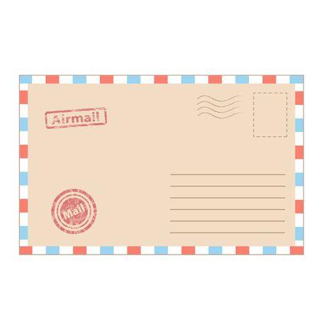 envelope mail in cartoon style for design on white, stock vector illustration