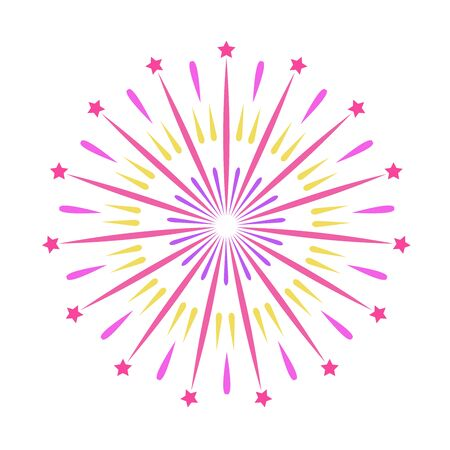 Colorful firework. Celebration fire firework, christmas pyrotechnics firecracker for winter party festival birthday celebration or anniversary firecracker background isolated vector