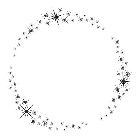 Stardust frame. Shiny star circle frame, starry glitter stamp and round magic twinkle stars trace. Shine stardust swirl, shining glowing halo for party decor. Isolated vector symbol