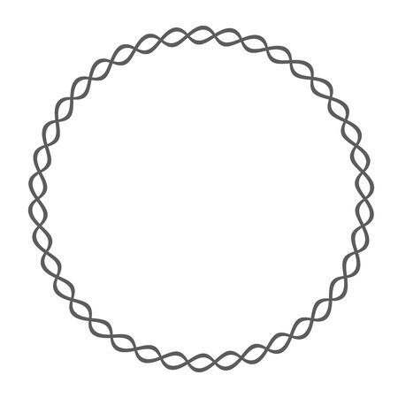 Round rope frame. Circle ropes, rounded border and decorative marine cable frame circles. Vetores