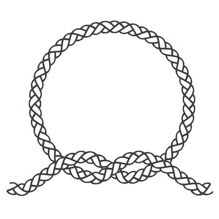 Round rope frame. Circle ropes, rounded border and decorative marine cable frame circles.