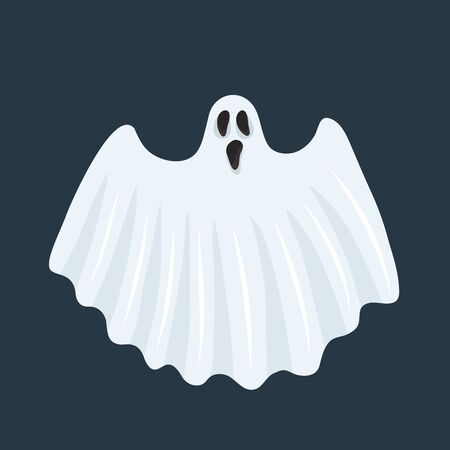Ghost character. Halloween scary ghostly monster, dead boo spook and cute funny boohoo spooky fly anima or horror curious devil phantom costume isolated cartoon vector icon