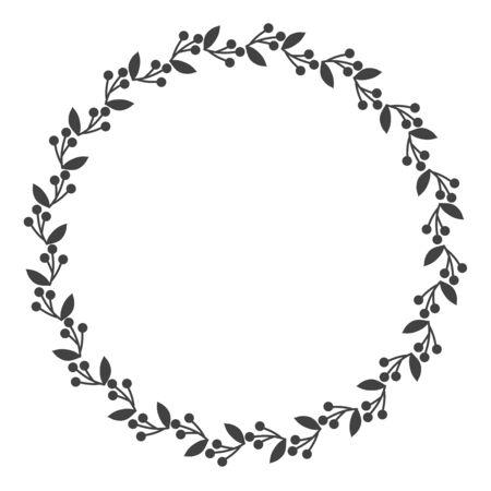Circle leaf frames. Floral leaves round frame, flower ornament circles and flowers circled border. Laurel leaf wreath icons for wedding invitation card. Decoration isolated vector symbols set Ilustracje wektorowe