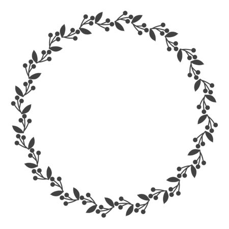 Circle leaf frames. Floral leaves round frame, flower ornament circles and flowers circled border. Laurel leaf wreath icons for wedding invitation card. Decoration isolated vector symbols set Vettoriali