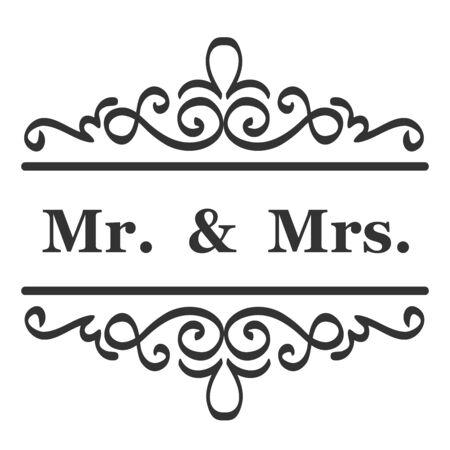 Mr and Mrs ( mister and missis ) Wedding Sign Typographic Vector Design Vektoros illusztráció