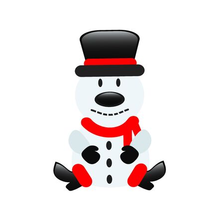 Snowman in cartoon style for greeting card design on white, stock vector illustration