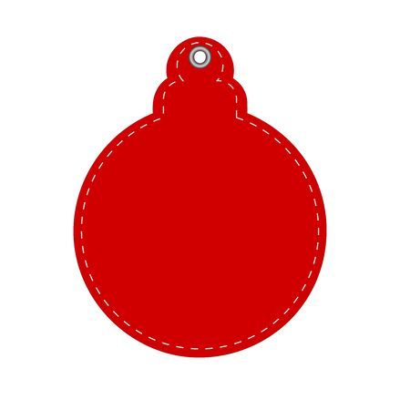 Red Hangtag Decorative Ball for Christmas or New Year greeting card, stock vector illustration