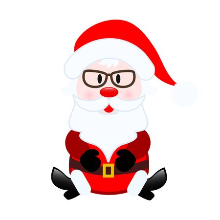 Santa Claus in cartoon style for greeting card design on white, stock vector illustration