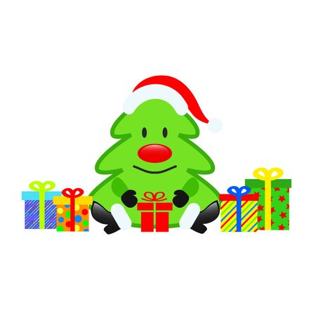 Christmas Tree in cartoon style and colorful gift boxes for greeting card design on white, stock vector illustration