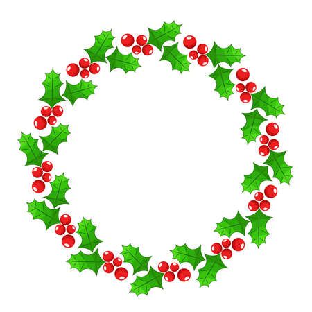 Christmas holly berry round frame for holiday greeting cards, stock vector illustration