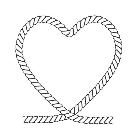 Heart rope border frame for love design Valentine's Day, stock vector illustration Vettoriali