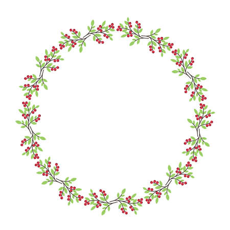 Christmas floral berry wreath round frame for holiday greeting cards, stock vector illustration  イラスト・ベクター素材