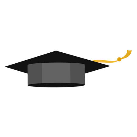 Graduating cap for education banner or posted on white, stock vector illustration